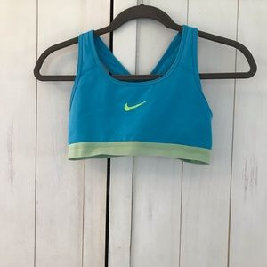 Blue and green sports bra